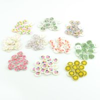 Wholesale MM seashell buttons designs floral printed flat back holes natural clothing craft children button