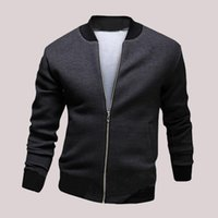 Wholesale Fashion Mens Black Grey Bomber Jacket Long Sleeve Zip Up Casual Coat Textured Cotton Crop Jackets AWE1225