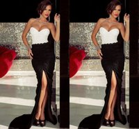 bandeau dress - Bandeau Embroidered Pleated Split Evening Dress New Black And White Beaded Sweetheart Sexy Open Back Runway Fashion Evening Gowns