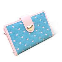 beautiful girl card - Newest Women Wallets Beautiful Love Heart Lady Purses Candy Color Hasp Folds Card Holders Girls Cute Wallet Fashion Female Bag