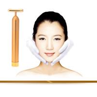 gold bars - 24K Gold Plated Vibration Facial Beauty Roller Massager Stick Skin Rejuvenation Face Lifting Vibrating Bar Face Skin care H12538