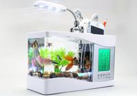 Wholesale 2016 Fashion Luxury Hot Usb Desktop Electronic Aquarium Mini Fish Tank with Water Running LED Pump Light Calendar Alarm Clock