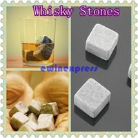 Wholesale Whiskey Stone Cold Stone Ice Cube Rocks with velvet bag Xmas Great gift New Good Quality Best Service