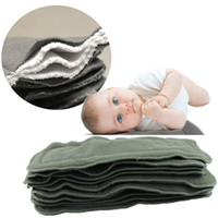 Wholesale Charcoal Material - 10 pcs  lot 4 Layers 100% Bamboo Charcoal Liner Inserts for Baby Reusable Diaper Natural Bamboo Material Washable Cloth Diaper