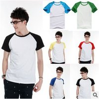 Men raglan shirt - retail Comfortable Cotton lycra Color matching Male Short sleeve Raglan T shirt D0259