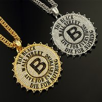 b beaded necklaces - hot selling brand name design gilded letter B necklace European and American popular hip hop jewelry