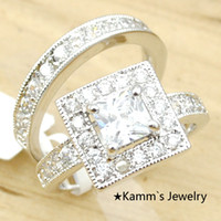 Wholesale New Arrival For Women Alloy with k White Gold Plated CZ Zirconia Wedding Rings Set Jewelry Engagement Wedding Ring Femme Sale KR039