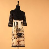 Casual Dresses ancient greek fashion - Plus Size XXL Spring amp Summer Fashion Half Sleeve Ancient Greek Building Printed Black Lace Patchwork Runway Dresses