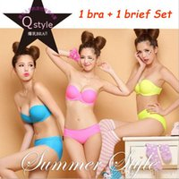 Wholesale Newest Sexy Bra Brief Set Invisible blade strapless tape Seamless bra set push up breasted glossy adjustable underwear