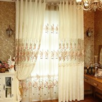 bedroom curtain rods - Beige Modern Fashion Sheer Embroidered Curtains for Kitchen Living Room Window Bedroom Customized Size Blackout Curtains PD007