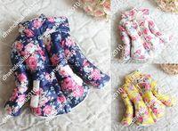 Wholesale Retail Girls winter coat to years thicker Fleece cotton flower down jacket Children s outerwear WQ018