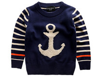 Boy anchor blue clothing - Hot selling children sweater anchor Pattern autumn and winter boys clothing baby child pullover knitted sweater