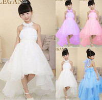 belted wedding dress - Retail New Flower Girl Dresses Pearl Belt White Children Trailing Princess Party Dress Y