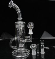 joint - 2015 New double recycler inches Glass Water Pipe Glass bong hot sell two function mm joint