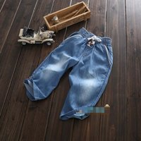 baby string lights - new summer baby clothing pants hand wash child jeans baby boys Elastic string kids Casual denim pants