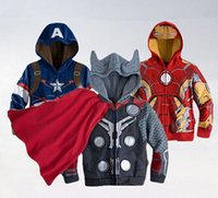Wholesale The Avengers jacket and coat boy yrs Baby Thor Cosplay jacket Captain america jackets Girls and boys hoodies