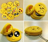 Wholesale New Hot QQ expression Coin Purses cute emoji coin bag plush pendant High quality