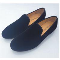 plain shoes - New Fashion Men Loafers Dress Shoes Mens Velvet Shoes Flats Smoking Slippers Slip On Black Plain Shoes Men Casual Shoes