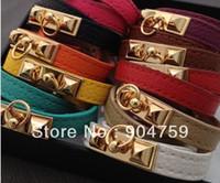 pyramid studs - HOT H Brand Vintage Punk Studs Pyramid Faux Leather Wristband Charm Bangles Bracelet Cuffs