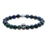 Wholesale Pulseras mujer dark blue dark green lazurite stone skull beads bracelet elastic charm bracelet men pulseras hombre bracciali uomo mens bra