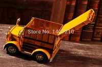 american school buses - 2015 Window display retro vintage bar decoration Classic American iron school bus kid gift metal car model coffee shop decor