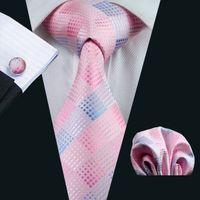 Boda rosado corbata Escuadra de bolsillo Gemelos Jacquard Tejido de negocios del trabajo formal corbata Conjunto Moda Hombres N-0350