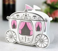 Wholesale 2000pcs new Cinderella quot Enchanted Carriage quot Fairytale Themed Wedding Boxes Cinderella Pumpkin Carriage Candy Boxes HX
