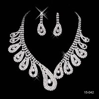 Wholesale 2015 Necklace and Earring Ear Stud Style Sets Bridal Jewelry Wedding Bridal Rhinestone Accessories Bridal Wedding Party Jewelry Sets