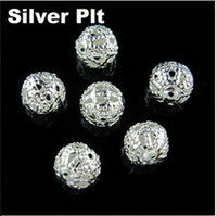 Wholesale Four Sizes mm Silver Plated Round Filigree Hollow Spacer Beads B342