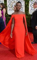 fancy dress sexy - 2015 Red Capet Celebrity Dress Golden Globe Award Lupita Prom Dresses Off Shoulder sexy Fancy Cape Cloak Bateau Sheath Evening Gowns