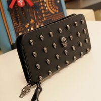 Wholesale Skull women s wallet designer black clutch zipper coin purse passport holder with High quality PU