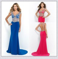 beads online uk - 2015 Blush Designer Fuchsia Sexy Prom Dress UK Online Under V Neck Cap Sleeve Mermaid Formal Dresses Sweep Train Crystal Beads Gown XS