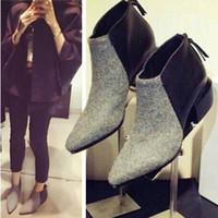 Wholesale Women Thick Heel Boots Pointed Toe Shoes Fashion Leather Flock Black Gray Fringe Pathwork Ankle Winter Fall Botas Femininas