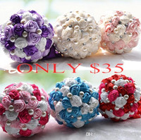 Jewelry Sets quality silk flowers - ONLY Top Bridal Wedding Bouquet High Quality Purple Cream Wedding Decoration Artificial Bridesmaid Flower Crystal Pearl Silk Rose