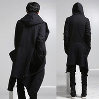 Wholesale Fall New fashion long trench coat men hip hop black long coat hoodie jacket mens casual wool overcoat hooded manteau homme cappotto