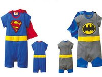 Wholesale NEW Four designs Baby One Piece baby Rompers boys girls Superman style Romper Super Man Rompers Batman Clothes B195