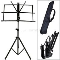 Wholesale Black Sheet Music Metal Stand Adjustable Folding Foldable Music Book Holder With Carry Case Bag