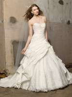 Wholesale Wonderful Ball Gown Wedding Dresses Strapless Applique Satin Chapel Train Bridal Wedding Gowns Lace up Custom Made A