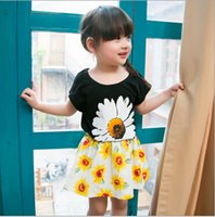 Cheap 2015 New Girl Clothing Set black Top and Flowers Pants For Baby Girl Summer Wear Children Clothing 2 Pcs White Lace T Shirt Baby Clothes