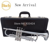 Wholesale Taiwan Bach Original times Silver Plated LT190S98 Bb Professional trumpet HARD LEATHER Case Top musical instrument Brass bugle