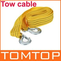 Wholesale 3Tons FT Tow Cable Towing Rope with Hooks for Heavy Duty Car Emergency dropshipping
