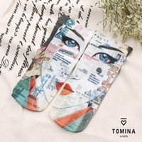 acrylic floor paint - fashion brand Women s ankle socks abstract painting Portraits cotton Socks good quality Cute floor Socks calcetines