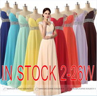 Wholesale IN STOCK Prom Dresses Backless Long Chiffon Formal Pageant Gowns A Line Sweetheart Beaded Mint Red Orange Burgundy Bridesmaid Dresses