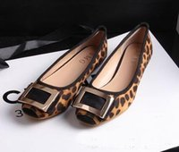 flat shoes - hot sale new Europe flats shoes square toe Leopard all match Flat shoes Women Flats plus size