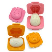 bento egg molds - 2pcs set rabbit bear Sushi Rice Mold Mould Seaweed Cutter Bento plastic cake cookies chocolate ice cream egg riceball maker