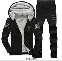 sweat suits - New Arrival Tracksuit for Man Casual Spring Autumn Thicking Hoody Fur Lining Fleece Hoodies Pant Men s Sports Clothing Sets Sweat Suits
