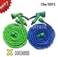 Wholesale 2014 NEW Retractable FT Garden Water hose for Car pipe with Gun Blue Green