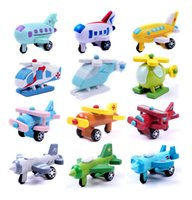 Wholesale Mini car truck and plane wooden cars and plane for boys and girls children birthday present wooden toys