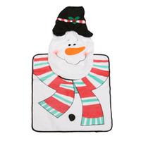 bathroom supplys - 3Pcs set Xmas Decora Santa Snowman Toilet Seat Cover Rug Mat Bathroom Set Christmas Supplys