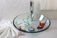 Wholesale Hand painted Goldfish glass sink Tempered Glass Vessel Sink With High oblique faucet Set N